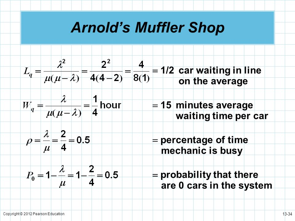 Arnold's Muffler Shop  1/2 car waiting in line on the average