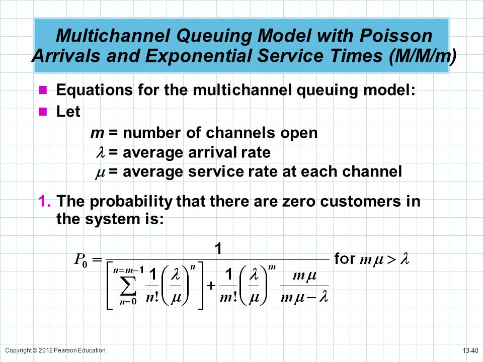 Multichannel Queuing Model with Poisson Arrivals and Exponential Service Times (M/M/m)