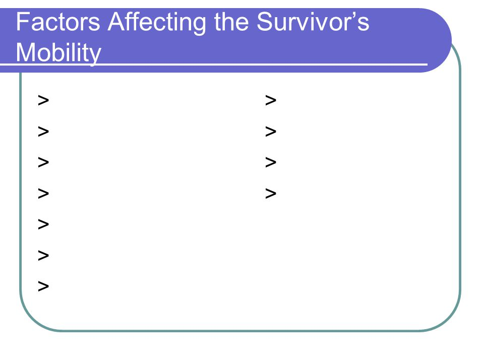 Factors Affecting the Survivor's Mobility