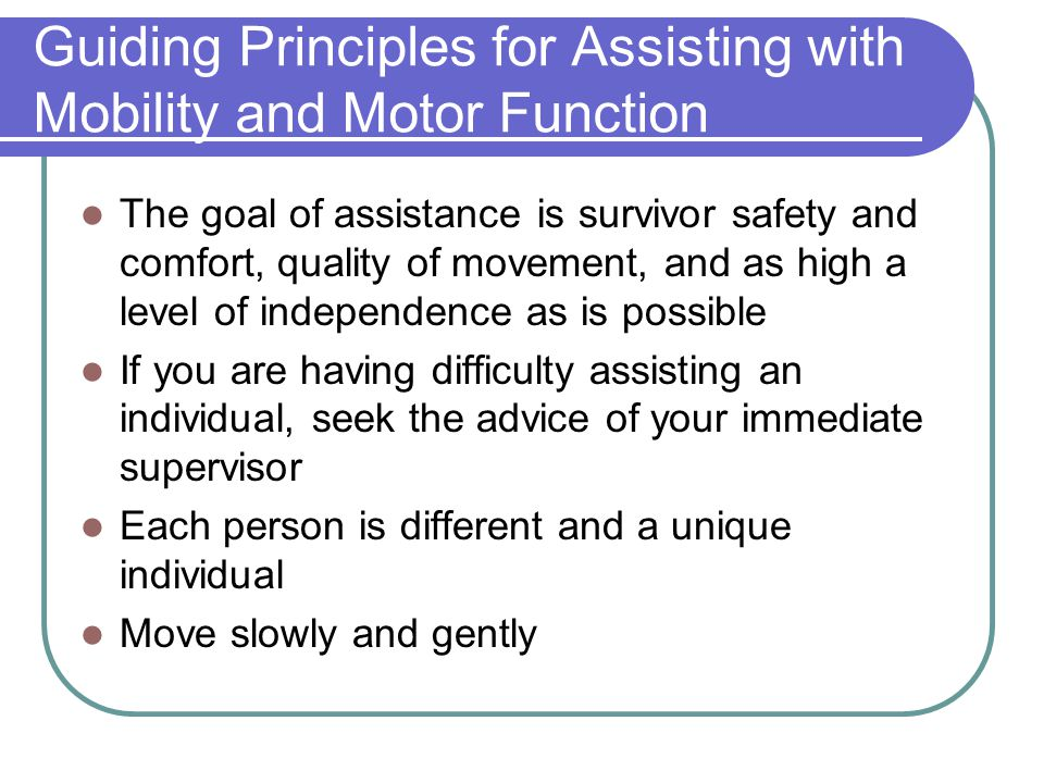 Guiding Principles for Assisting with Mobility and Motor Function