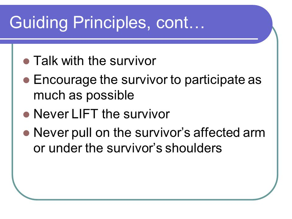 Guiding Principles, cont…