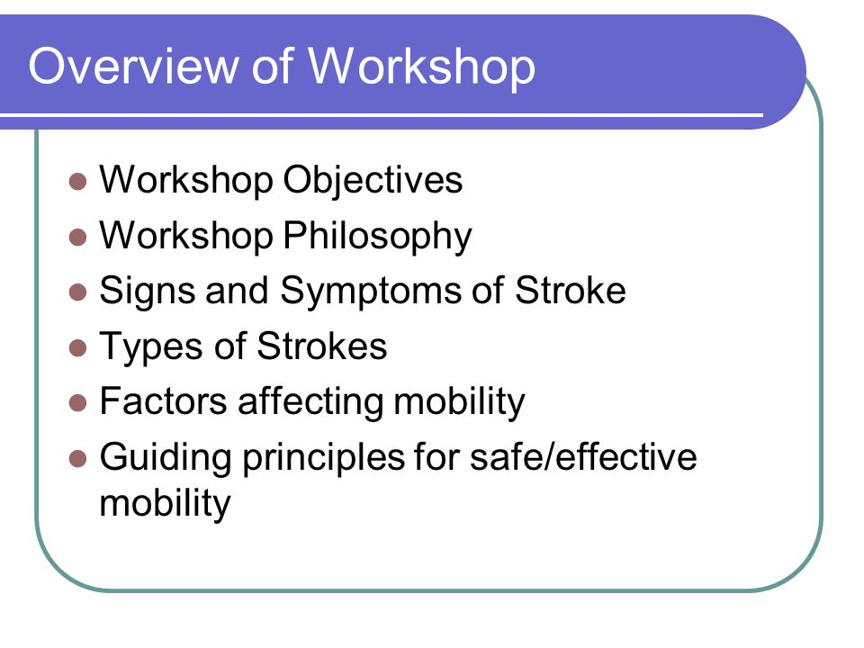 Overview of Workshop Workshop Objectives Workshop Philosophy