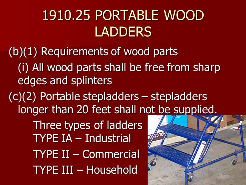1910.25 PORTABLE WOOD LADDERS (b)(1) Requirements of wood parts