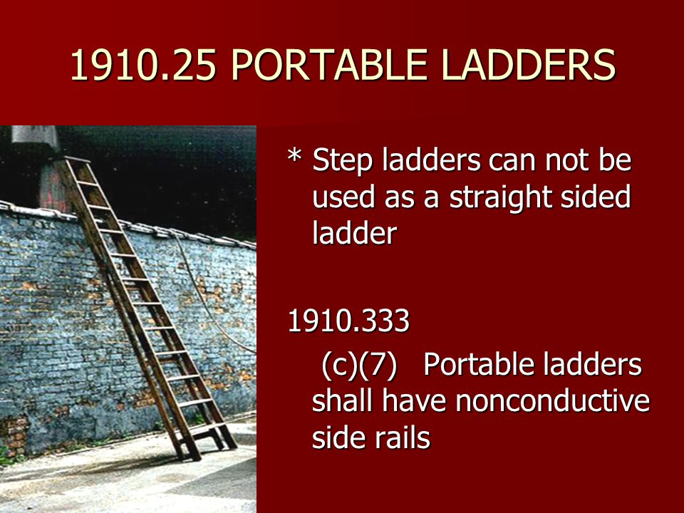 1910.25 PORTABLE LADDERS * Step ladders can not be used as a straight sided ladder. 1910.333.
