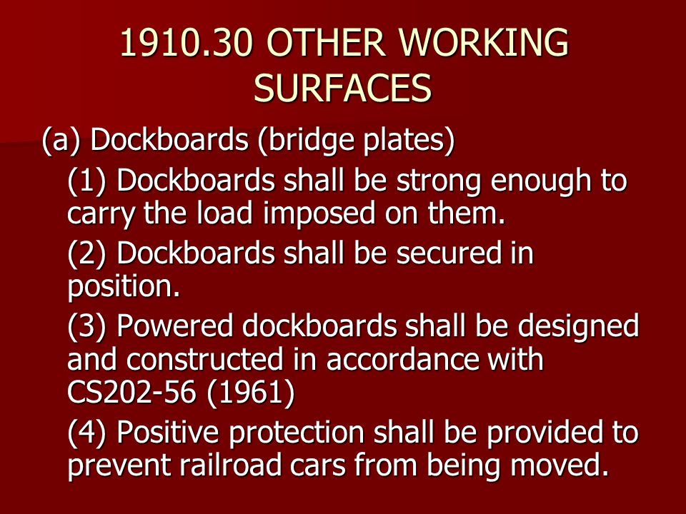 1910.30 OTHER WORKING SURFACES