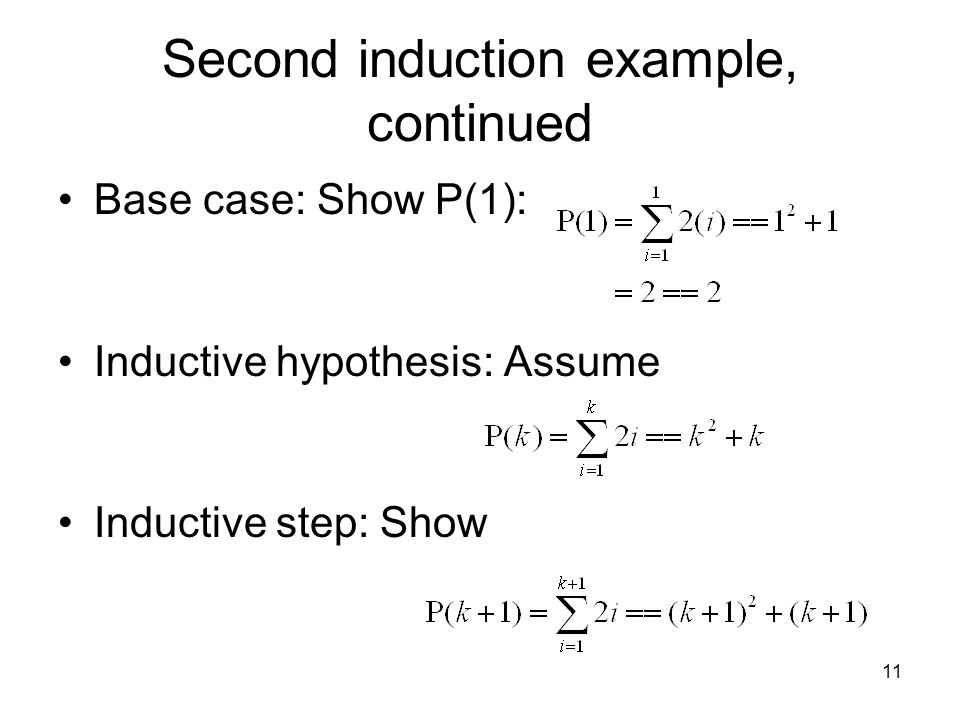 Second induction example, continued