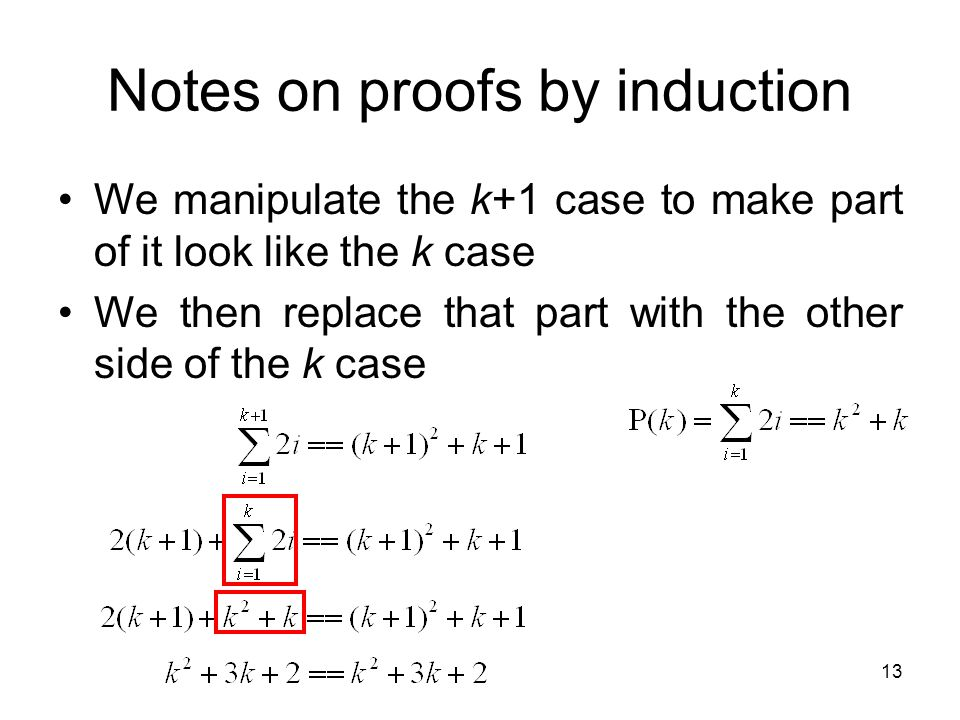 Notes on proofs by induction