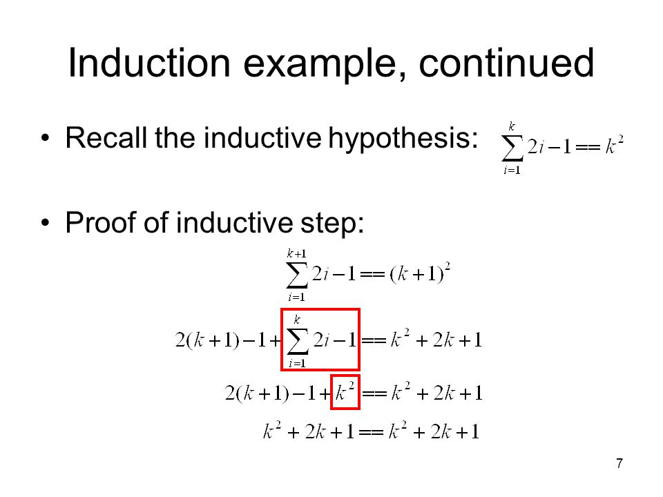 Induction example, continued