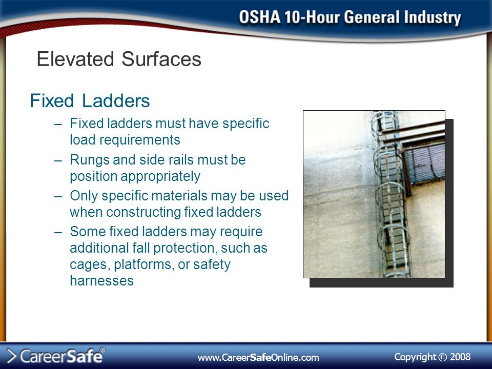 Elevated Surfaces Fixed Ladders