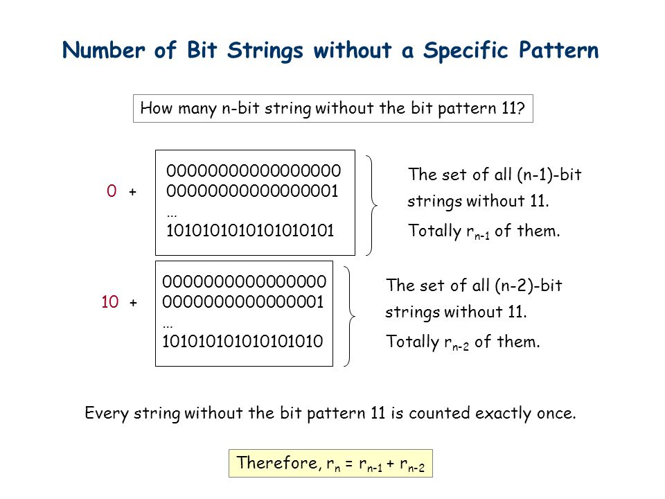 Number of Bit Strings without a Specific Pattern