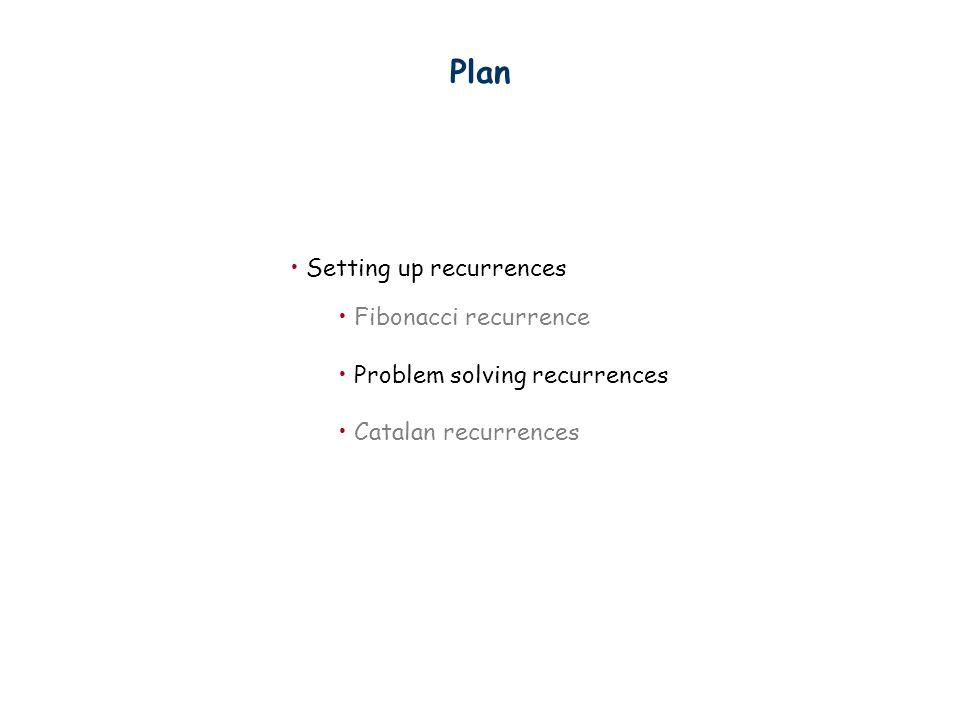 Plan Setting up recurrences Fibonacci recurrence