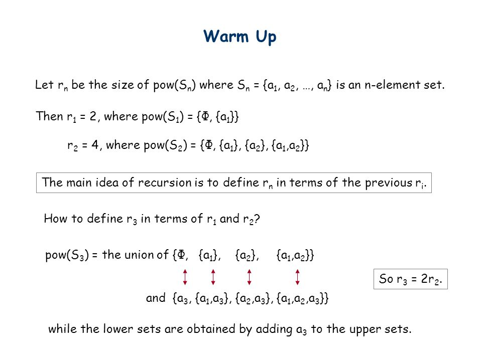 Warm Up Let rn be the size of pow(Sn) where Sn = {a1, a2, …, an} is an n-element set. Then r1 = 2, where pow(S1) = {Ф, {a1}}