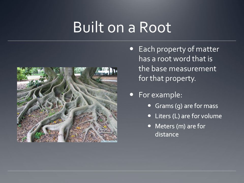Built on a Root Each property of matter has a root word that is the base measurement for that property.