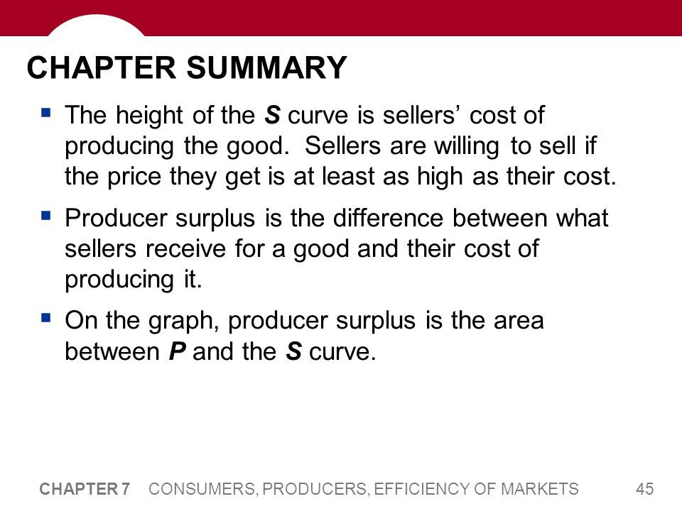 CHAPTER SUMMARY To measure of society's well-being, we use total surplus, the sum of consumer and producer surplus.