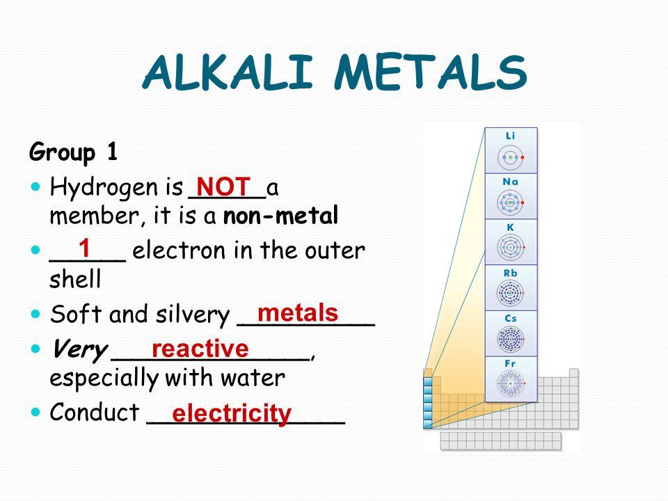 ALKALI METALS NOT 1 metals reactive electricity Group 1