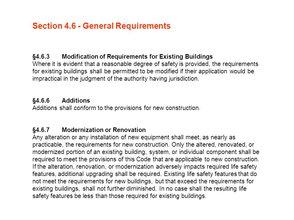 Section 4.6 - General Requirements