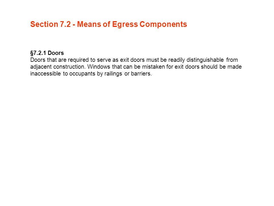 Section 7.2 - Means of Egress Components