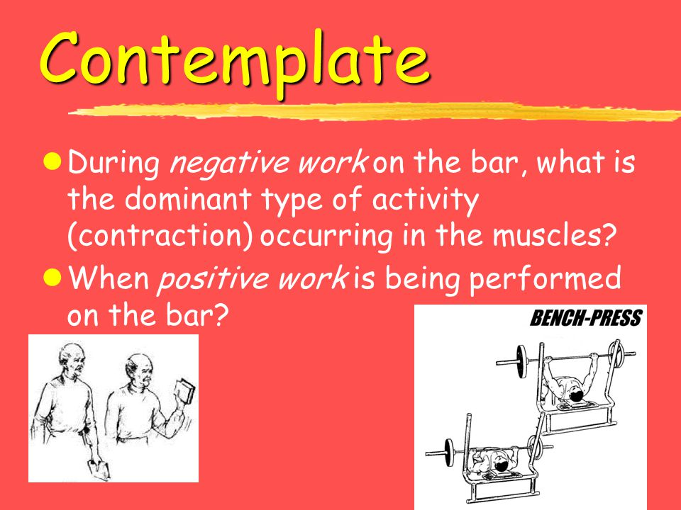 Contemplate During negative work on the bar, what is the dominant type of activity (contraction) occurring in the muscles