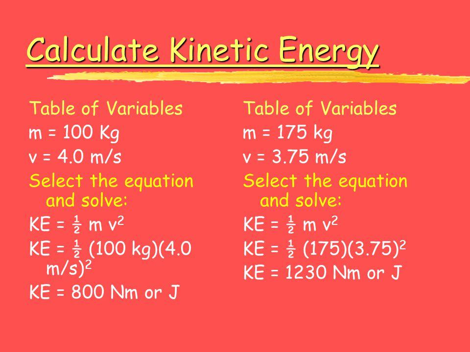 Calculate Kinetic Energy