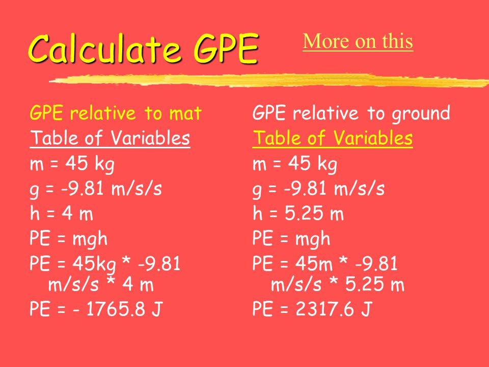 Calculate GPE More on this GPE relative to mat Table of Variables