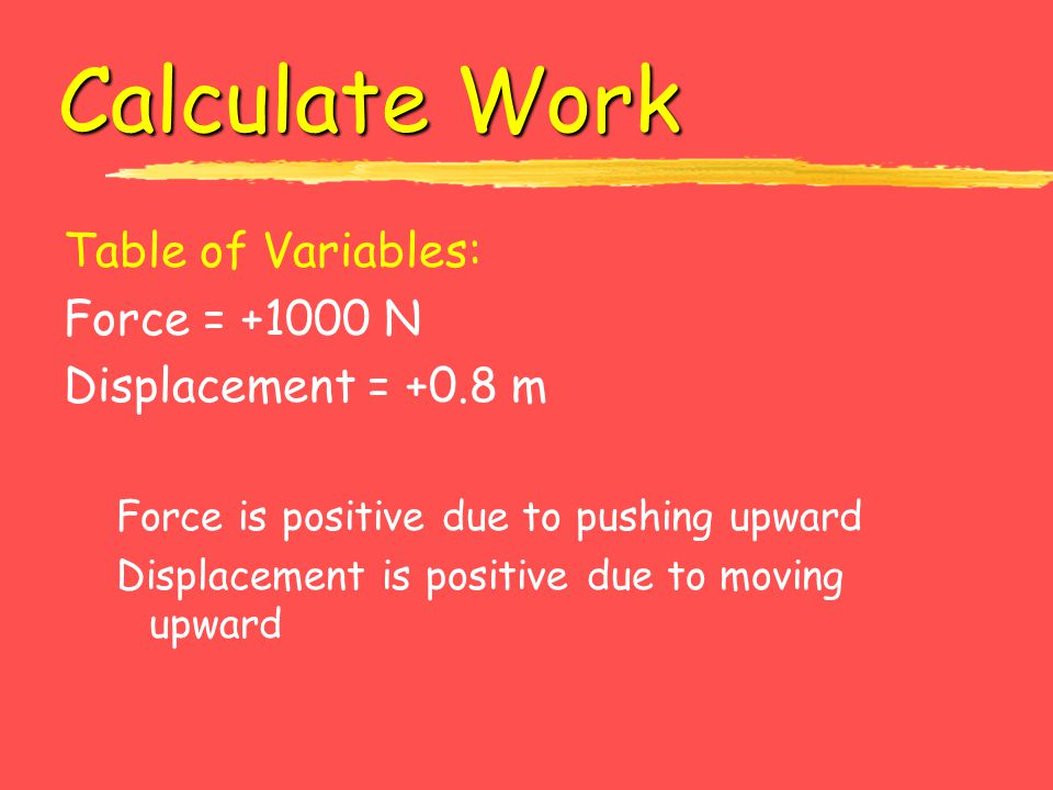 Calculate Work Table of Variables: Force = +1000 N