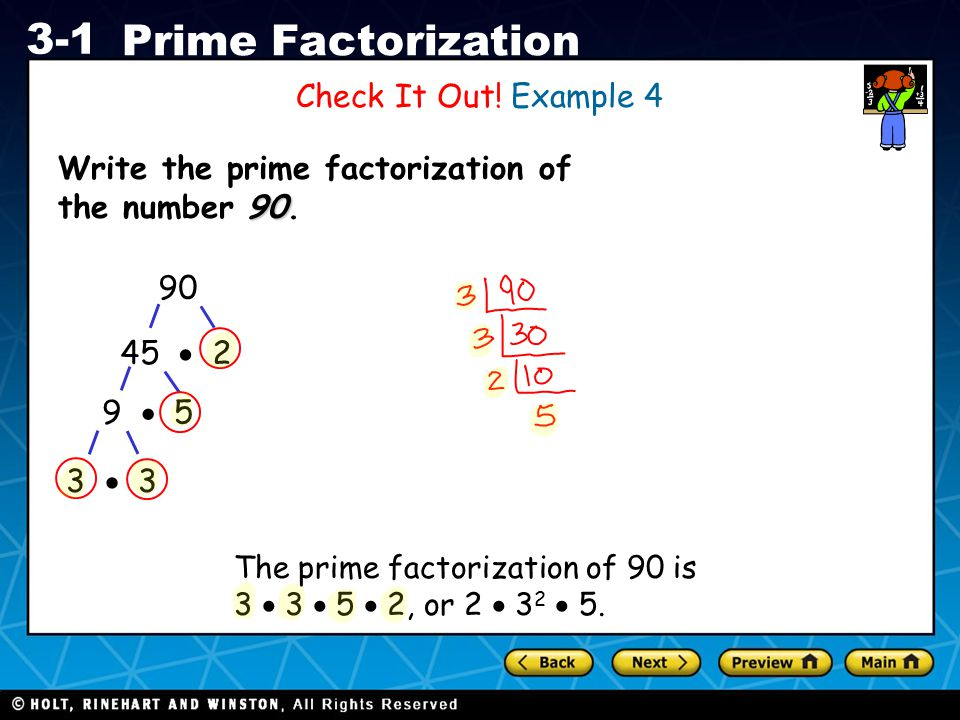 Write the prime factorization of the number 90.