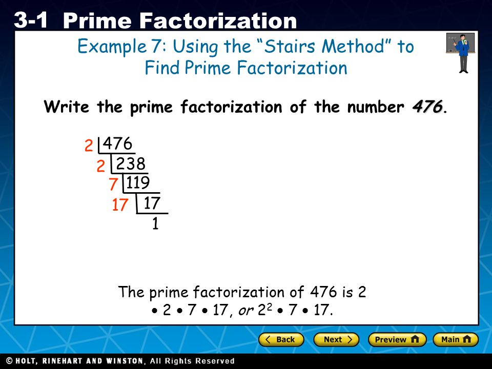Write the prime factorization of the number 476.