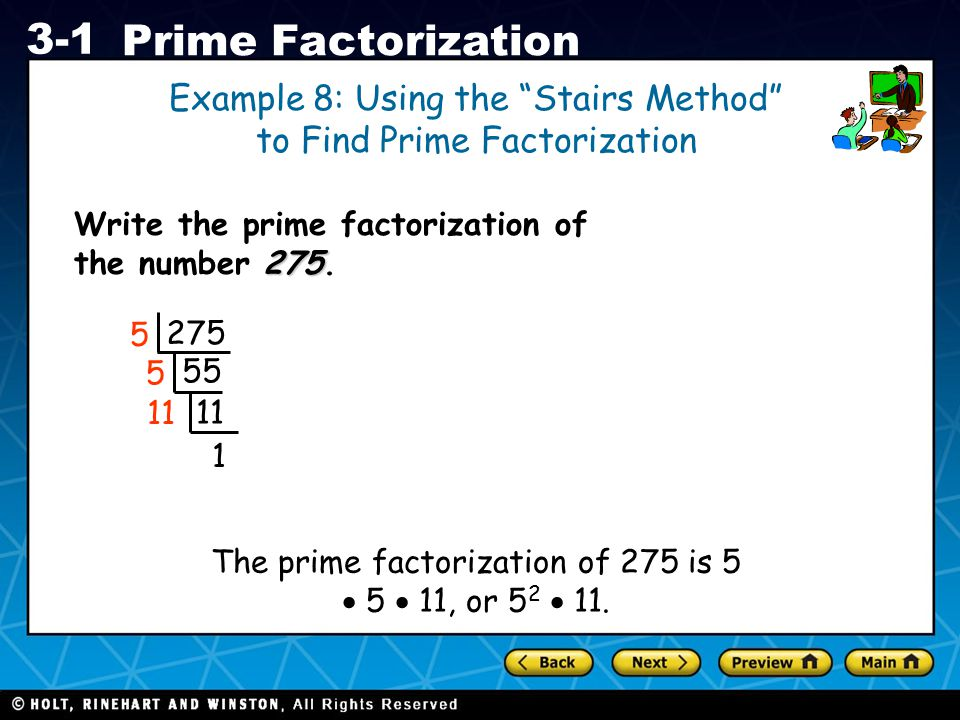 Example 8: Using the Stairs Method to Find Prime Factorization