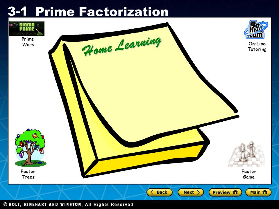 Prime Wars Home Learning On-Line Tutoring Factor Trees Factor Game