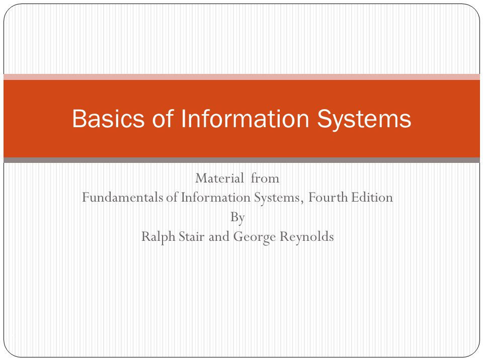 Basics of Information Systems
