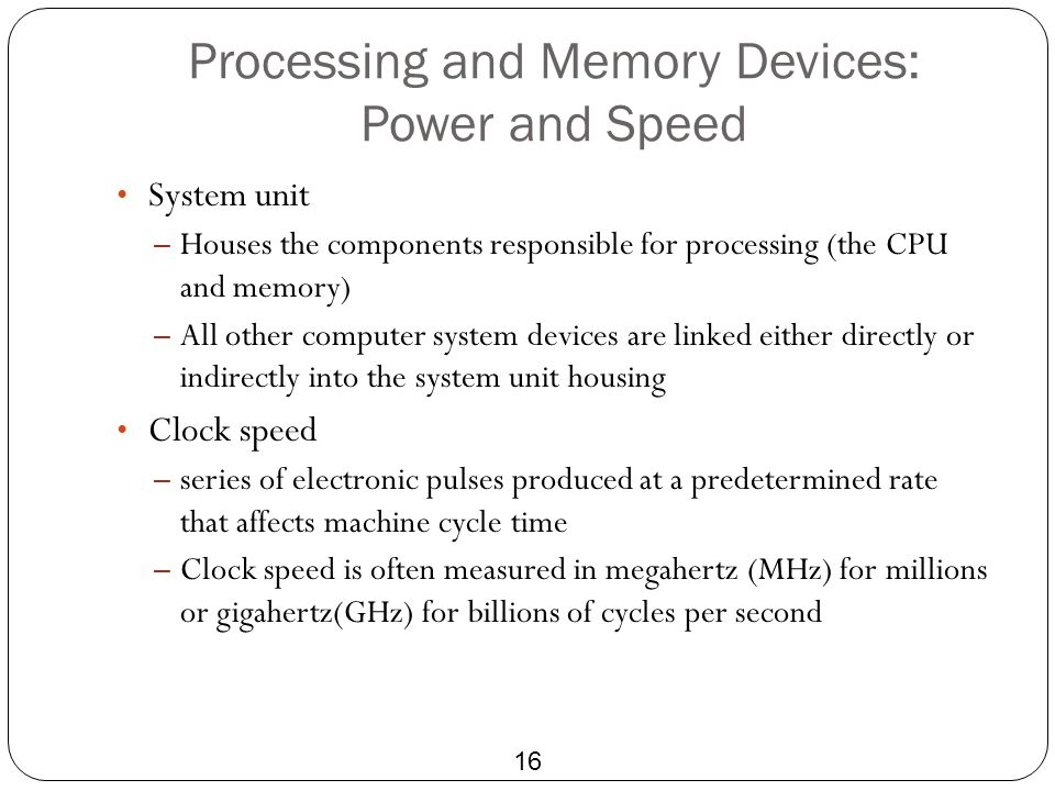 Processing and Memory Devices: Power and Speed