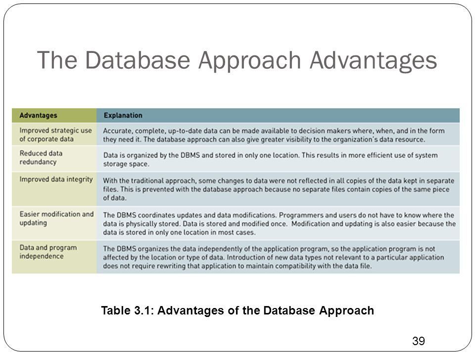 The Database Approach Advantages