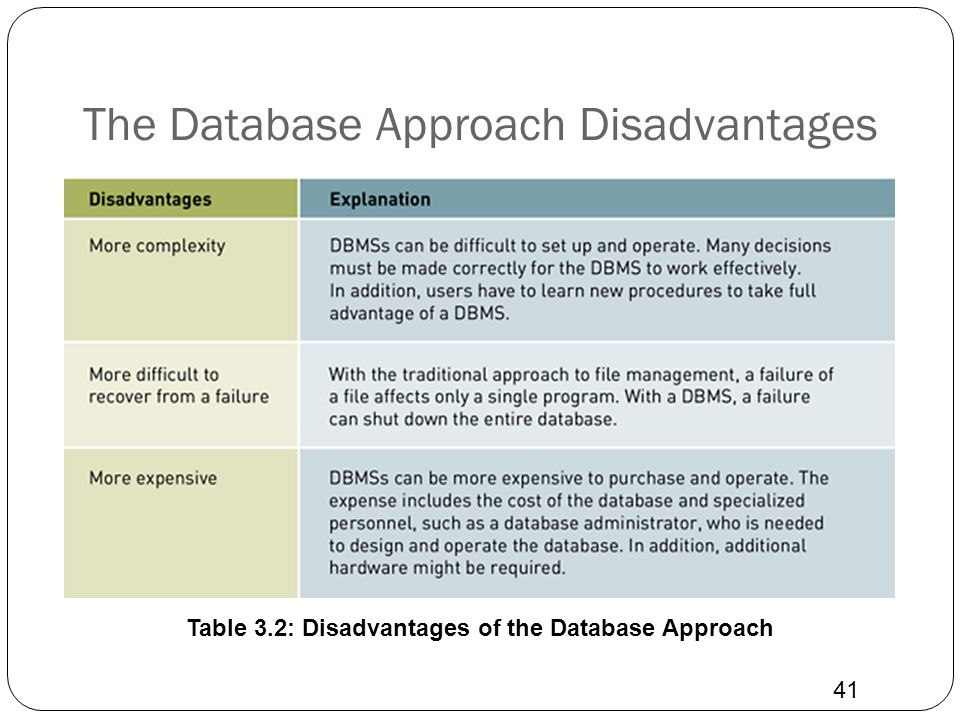 The Database Approach Disadvantages