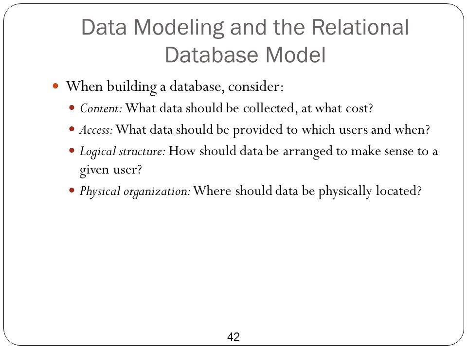 Data Modeling and the Relational Database Model