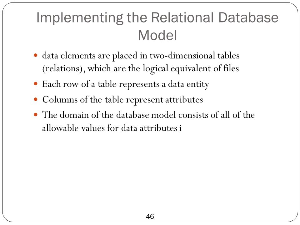 Implementing the Relational Database Model