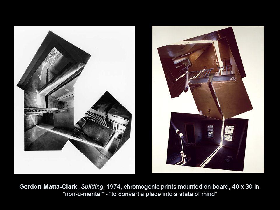 Gordon Matta-Clark, Splitting, 1974, chromogenic prints mounted on board, 40 x 30 in.