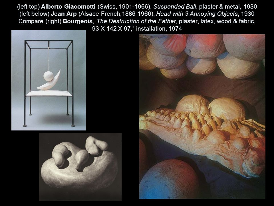 (left top) Alberto Giacometti (Swiss, 1901-1966), Suspended Ball, plaster & metal, 1930 (left below) Jean Arp (Alsace-French,1886-1966), Head with 3 Annoying Objects, 1930 Compare (right) Bourgeois, The Destruction of the Father, plaster, latex, wood & fabric, 93 X 142 X 97, installation, 1974