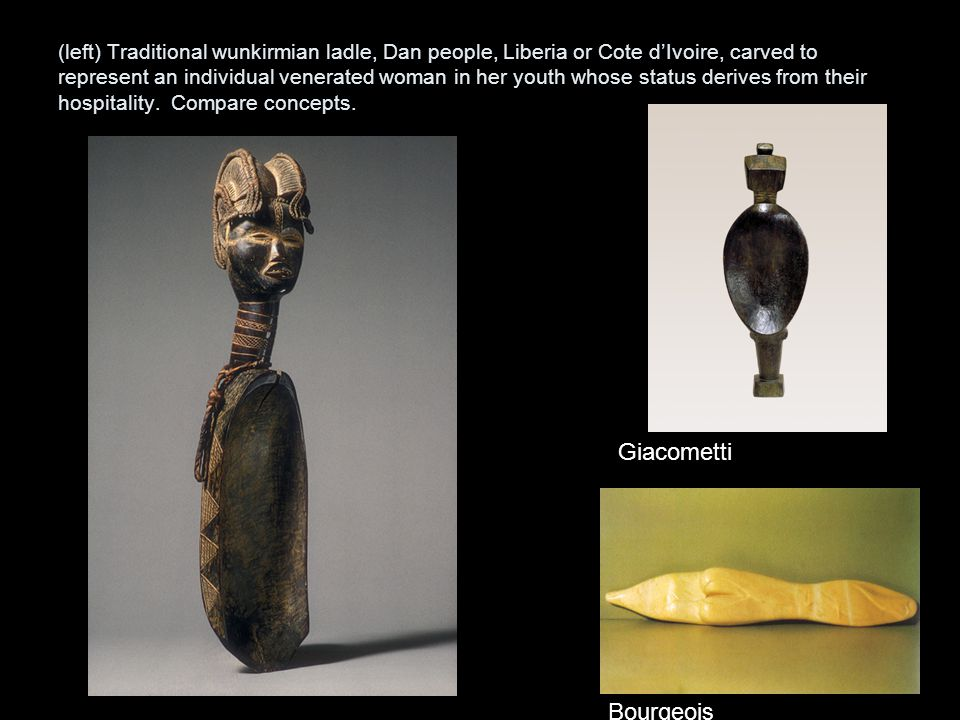 (left) Traditional wunkirmian ladle, Dan people, Liberia or Cote d'Ivoire, carved to represent an individual venerated woman in her youth whose status derives from their hospitality. Compare concepts.