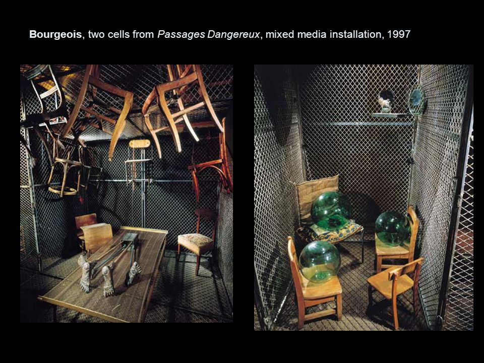 Bourgeois, two cells from Passages Dangereux, mixed media installation, 1997
