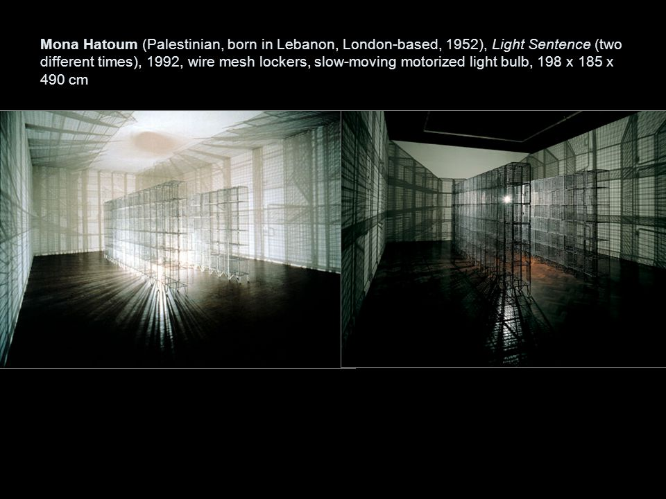 Mona Hatoum (Palestinian, born in Lebanon, London-based, 1952), Light Sentence (two different times), 1992, wire mesh lockers, slow-moving motorized light bulb, 198 x 185 x 490 cm