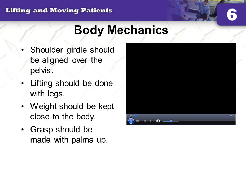 Body Mechanics Shoulder girdle should be aligned over the pelvis.