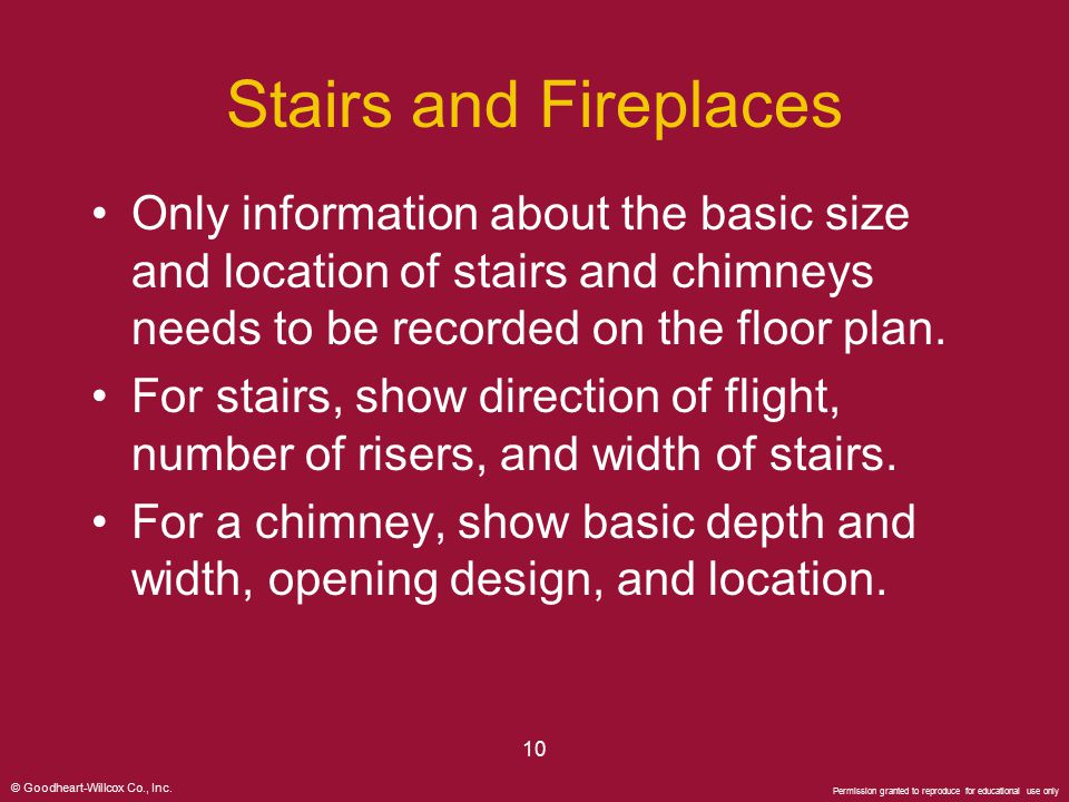 Stairs and Fireplaces Only information about the basic size and location of stairs and chimneys needs to be recorded on the floor plan.