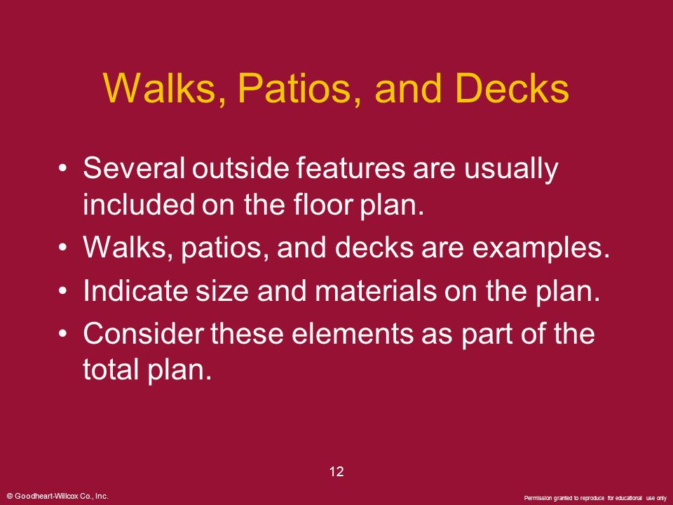 Walks, Patios, and Decks Several outside features are usually included on the floor plan. Walks, patios, and decks are examples.