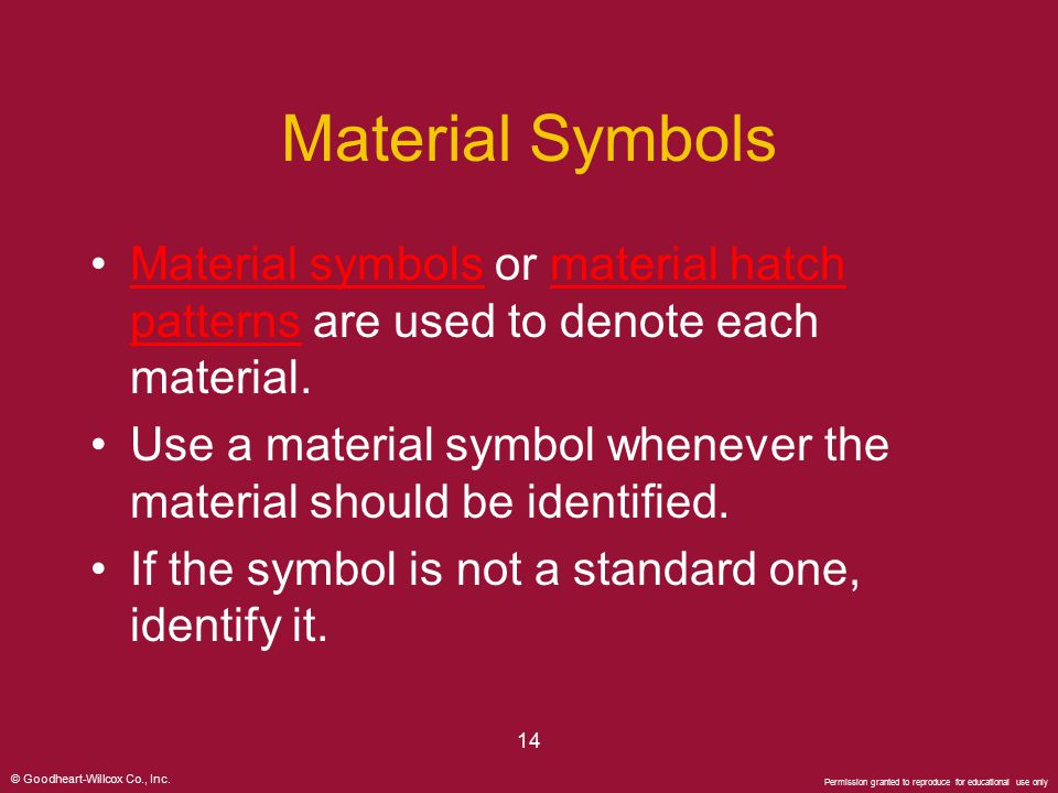 Material Symbols Material symbols or material hatch patterns are used to denote each material.
