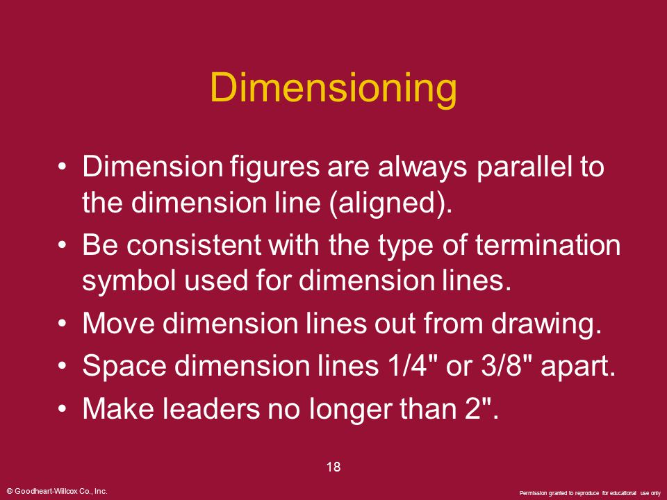 Dimensioning Dimension figures are always parallel to the dimension line (aligned).