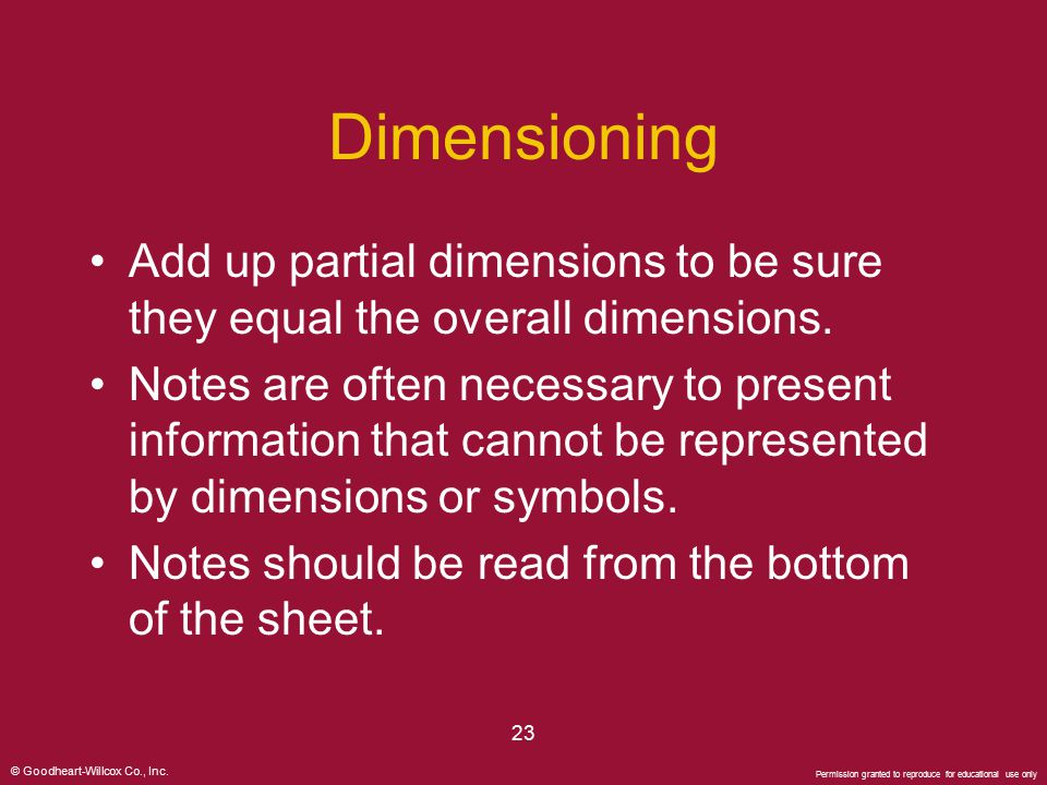 Dimensioning Add up partial dimensions to be sure they equal the overall dimensions.