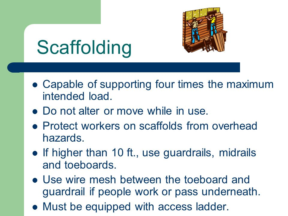 Scaffolding Capable of supporting four times the maximum intended load. Do not alter or move while in use.