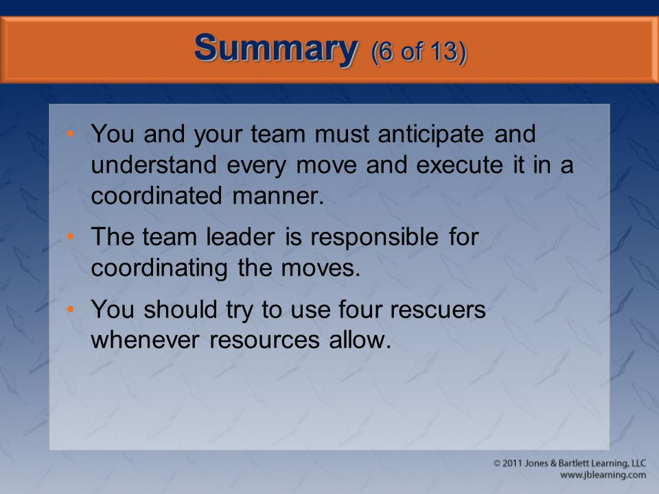 Summary (6 of 13) You and your team must anticipate and understand every move and execute it in a coordinated manner.