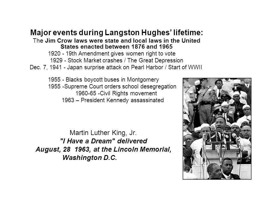 Major events during Langston Hughes' lifetime: