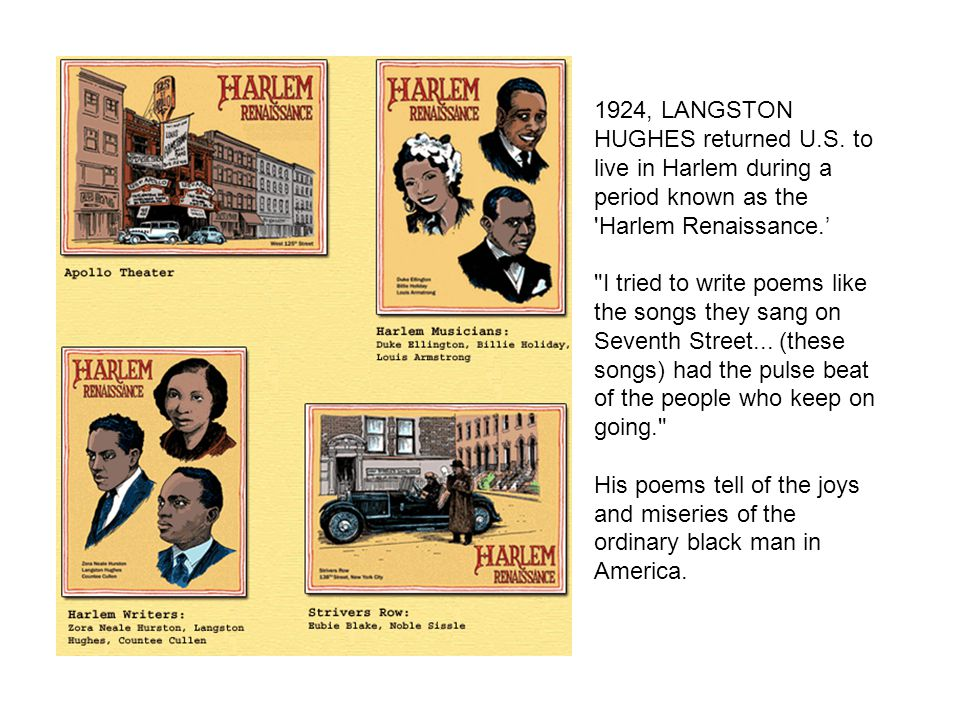 1924, LANGSTON HUGHES returned U. S